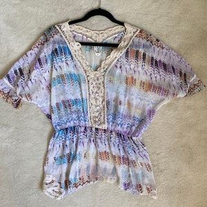 Free People Printed Sheer Blouse w/Lace Trim